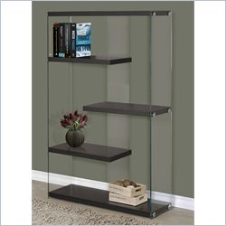 Monarch Hollow-Core Bookcase in Cappuccino with Floating Shelves
