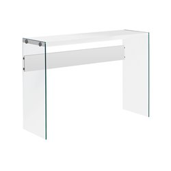 Monarch Hollow-Core Sofa Table in Glossy White with Tempered Glass