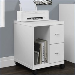 Hollow Core Computer Printer Stand with Castors in White