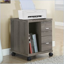 Computer Printer Stand with Castors in Dark Taupe