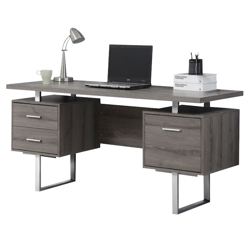 60 Quot Hollow Core Computer Desk In Dark Taupe I 7082