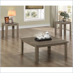 Monarch 3 Piece Square Table Set in Dark Taupe