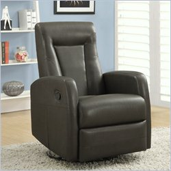 Monarch Swivel Rocker Leather Recliner in Charcoal Gray