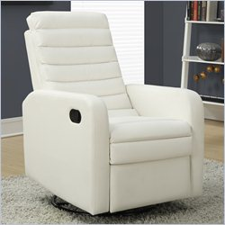 Quilt Back Swivel Glider Leather Recliner in White