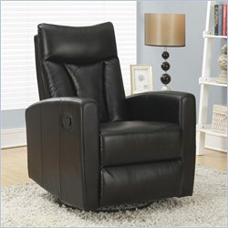 Monarch Padded Back Swivel Glider Recliner in Black