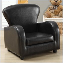 Monarch Kids Club Chair in Dark Brown Faux Leather