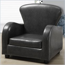 Kids Club Chair in Charcoal Gray Faux Leather