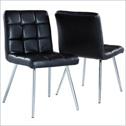 Dining Chair in Black and Chrome (Set of 2)