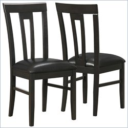 Slat Back Dining Chair in Dark Cappuccino and Brown (Set of 2)