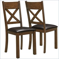 Dining Chair in Walnut and Dark Brown (Set of 2)
