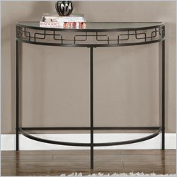 Console Accent Table in Chocolate Brown with Metal Base