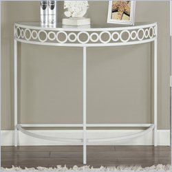 Console Accent Table in White with Metal Base