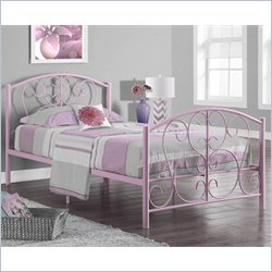 Twin Metal Bed Frame in Pink