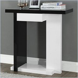 Console Accent Table in Glossy White and Black