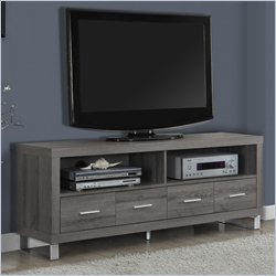 Monarch TV Console in Dark Taupe with Drawers