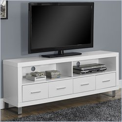 Monarch Hollow-Core TV Console in White with Drawers