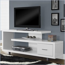 Monarch Hollow-Core TV Console in White with Open Shelves