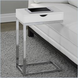 Monarch Hollow-Core Accent Table in Glossy White