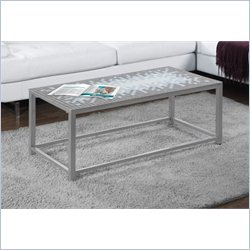 Monarch Cocktail Table in Hammered Silver with Blue Tile Top