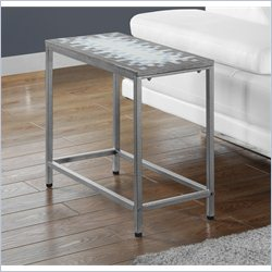 Accent Side Table in Hammered Silver with Blue Tile Top