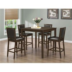5 Piece Counter Height Dining Set in Walnut and Dark Brown