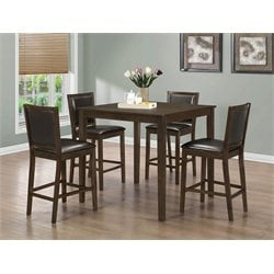 Monarch 5 Piece Counter Height Dining Set in Walnut and Dark Brown