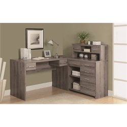 Hollow Core L Shaped Home Office Desk with Hutch in Dark Taupe