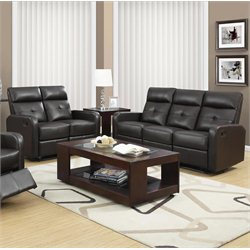 Monarch 2 Piece Button Tuft Reclining Glider Sofa Set in Dark Brown
