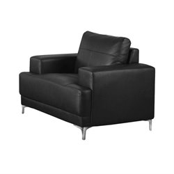 Leather Accent Chair in Black
