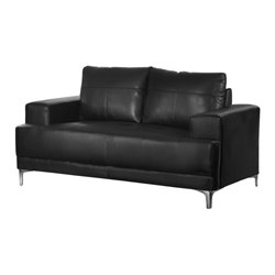 Leather Loveseat in Black