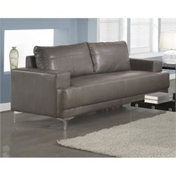 Monarch Leather Sofa in Charcoal Gray