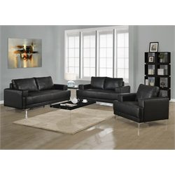 3 Piece Leather Sofa Set in Black