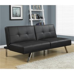 Monarch Leather Tufted Split Back Convertible Sofa in Black