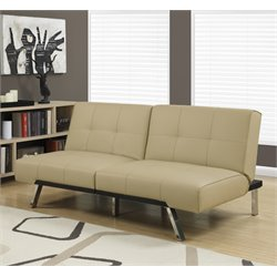 Monarch Leather Tufted Split Back Convertible Sofa in Taupe