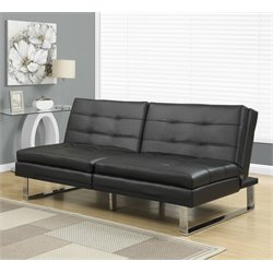 Monarch Leather Pillow Top Split Back Convertible Sofa in Black