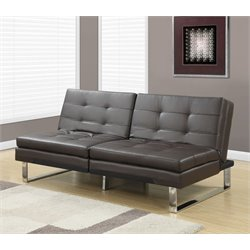 Monarch Leather Pillow Top Split Back Convertible Sofa in Dark Brown