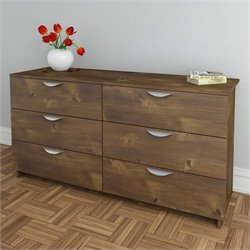 Nexera Nocce 6 Drawer Double Dresser in Truffle Finish