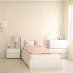 Nexera Blvd 4 Piece Storage Bedroom Set in White with Dresser