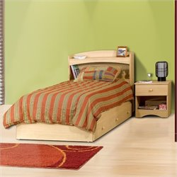 Nexera Alegria Twin Wood Captain's Storage Bed 3 Piece Bedroom Set in Natural Maple