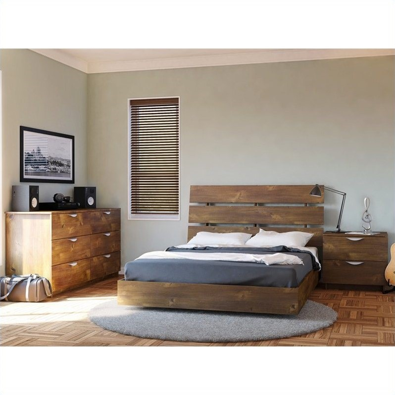 Nocce Wood Platform Bed 3 Piece Bedroom Set in Truffle