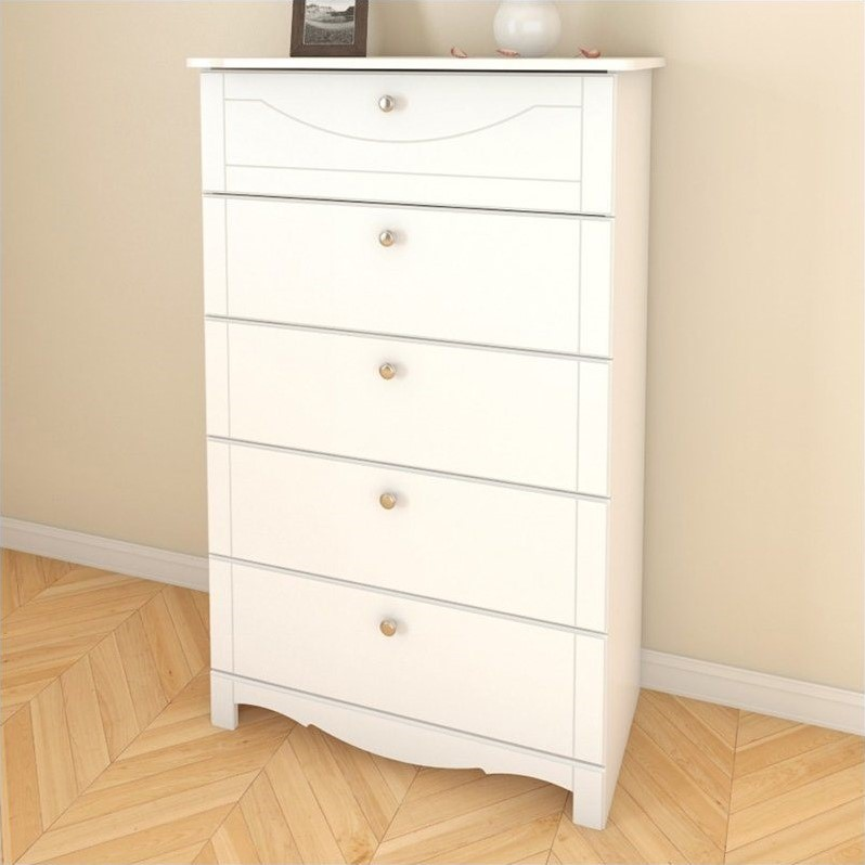 Dixie 5 Drawer Wood Chest in White