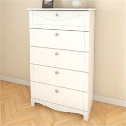 5 Drawer Wood Chest in White