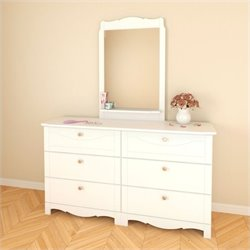 Nexera Dixie 6 Drawer Double Dresser and Mirror Set in White