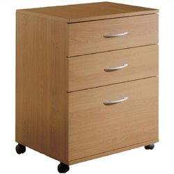 Mobile 3 Drawer Lateral Mobile Wood Filing Cabinet in Natural Maple