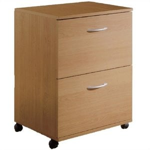 2 Drawer Mobile Vertical Wood Filing Cabinet in Natural Maple