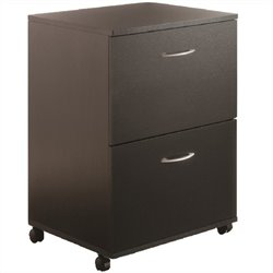 Mobile 2 Drawer Mobile Wood Filing Cabinet in Black