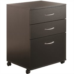 Mobile 3 Drawer Vertical Mobile Wood Filing Cabinet in Black