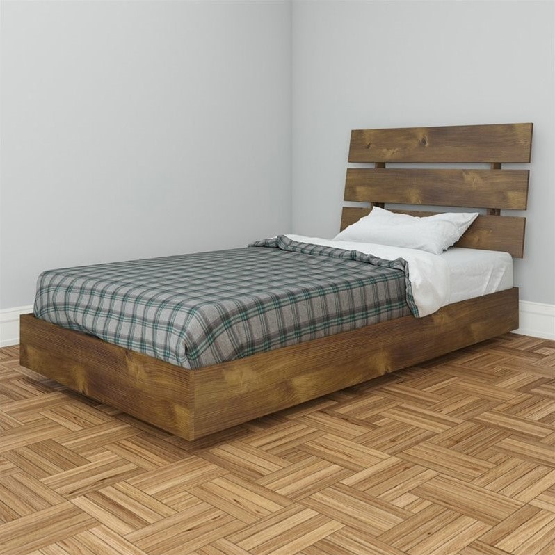 Nocce Modern Platform Bed in Truffle Finish