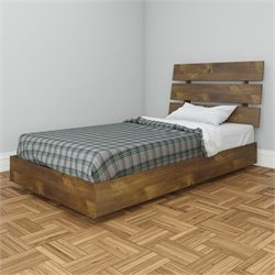 Nexera Nocce Modern Platform Bed in Truffle Finish - Twin