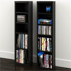 Nexera Sereni-T CD/DVD Storage Towers in Black (Set of 2)